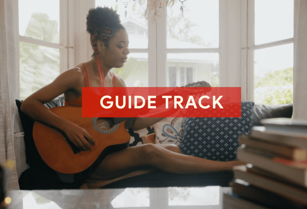 A guide track will be deleted later on but helps guide musicians during recording.