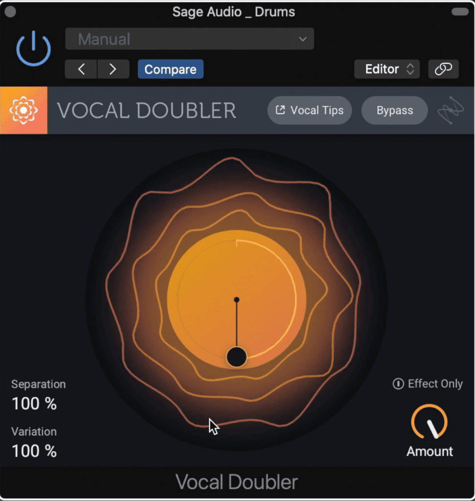 The vocal doubler can be used on various instruments, not just vocals.