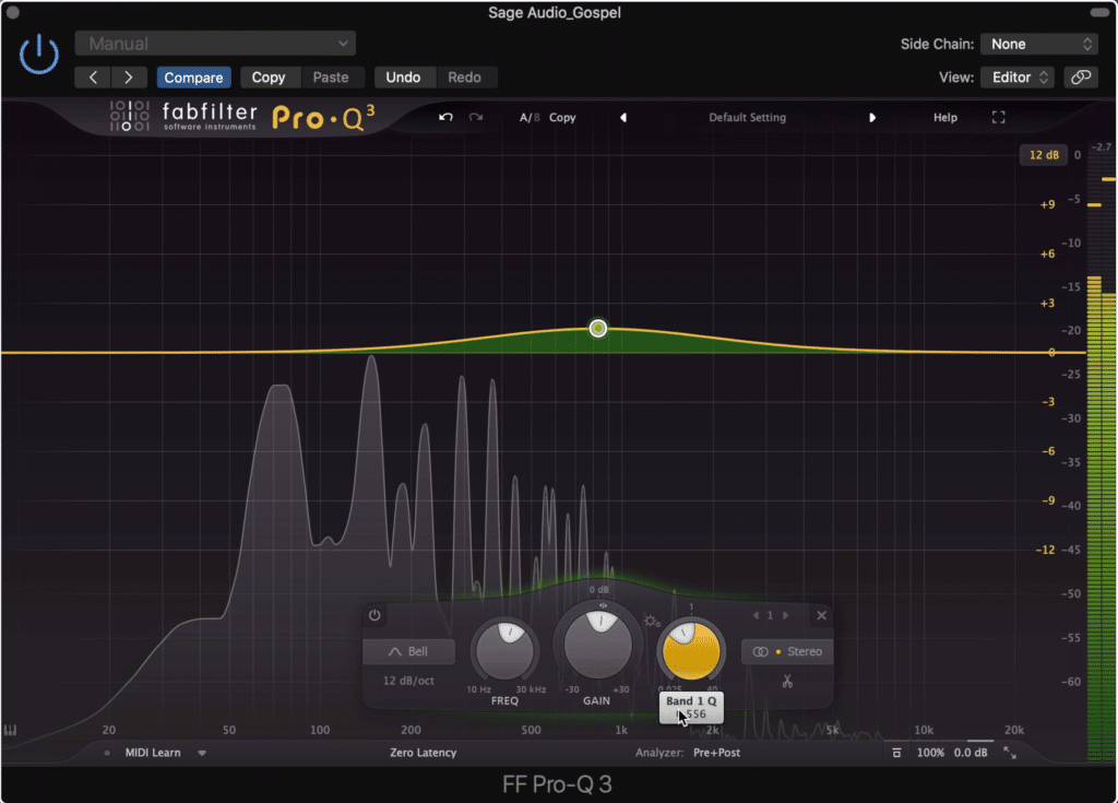 Make your EQ changes sound more natural by using a larger bandwidth, and smaller overall amplitude changes.
