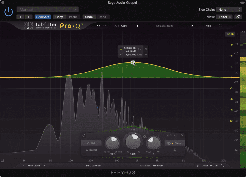 Additive equalization is used later on in the signal chain after subtractive equalization has taken out problem frequencies.