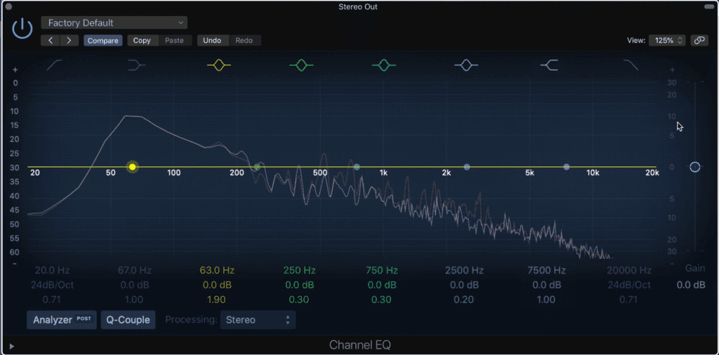Notice that the low end's peak is measured at 10dB above zero to the right of the frequency analyzer.