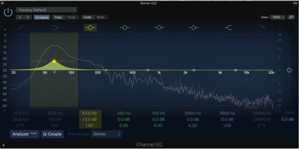 Notice that by increasing 3dB on those particular frequencies, they can now be at a predetermined 13dB above zero.  Keep in mind these are only examples, meant to illustrate how these services operate, but not their actual settings.