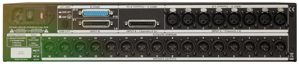 The connections on the back panel are analog, and primarily XLR.