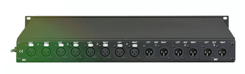 The back panel's connectivity is simple XLR analog inputs and outputs.
