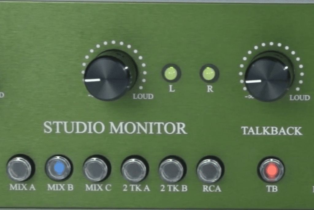 The studio monitor is tied to a typical rotary, while the control room monitoring is tied to a matched resister that provides additional accuracy.