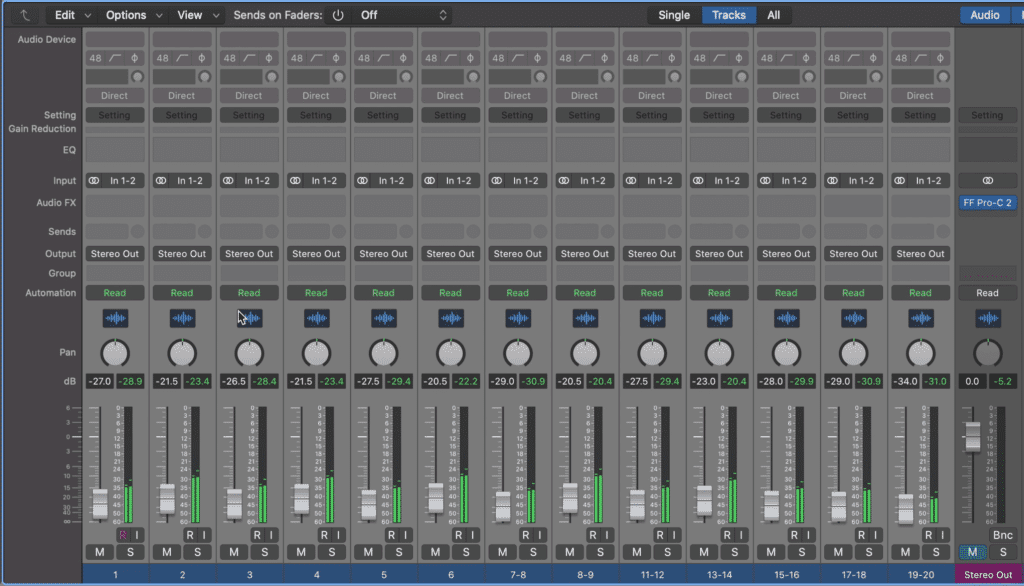 Notice the compressor on the stereo output.  All 20 of these tracks will be routed through this bus compressor.