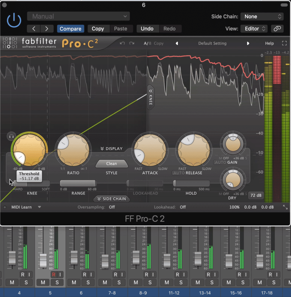 If a compressor is on only 1 of those 20 tracks, it would take extreme compression to become noticeable.