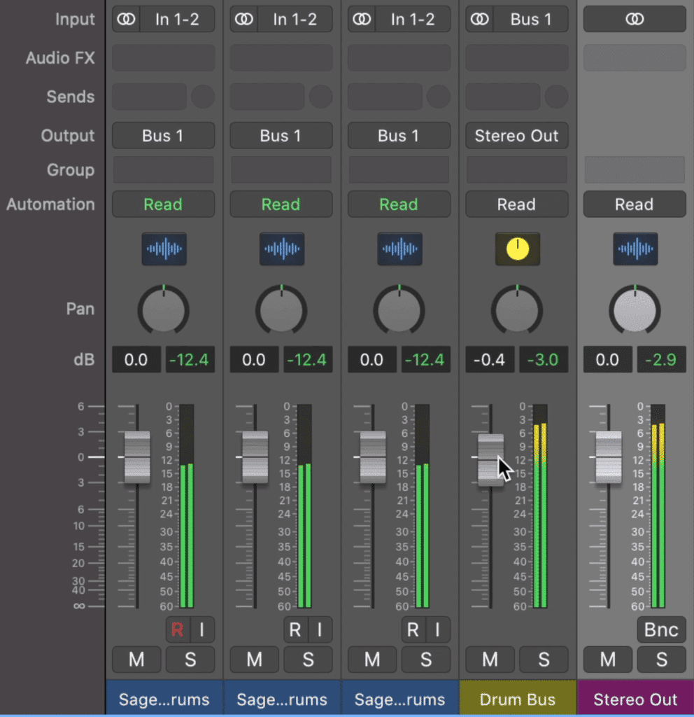 Notice that when you affect your Drum Bus channel, the signal all of the other tracks will be affected.