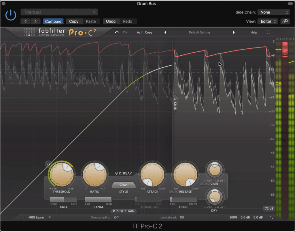 A short attack and long release will cause your drums transients to become attenuated.  This isn't something you want to have happen.