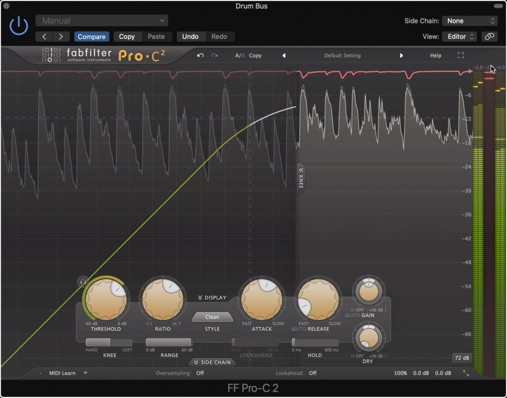 Use a longer attack and shorter release time on your drum bus compressor.