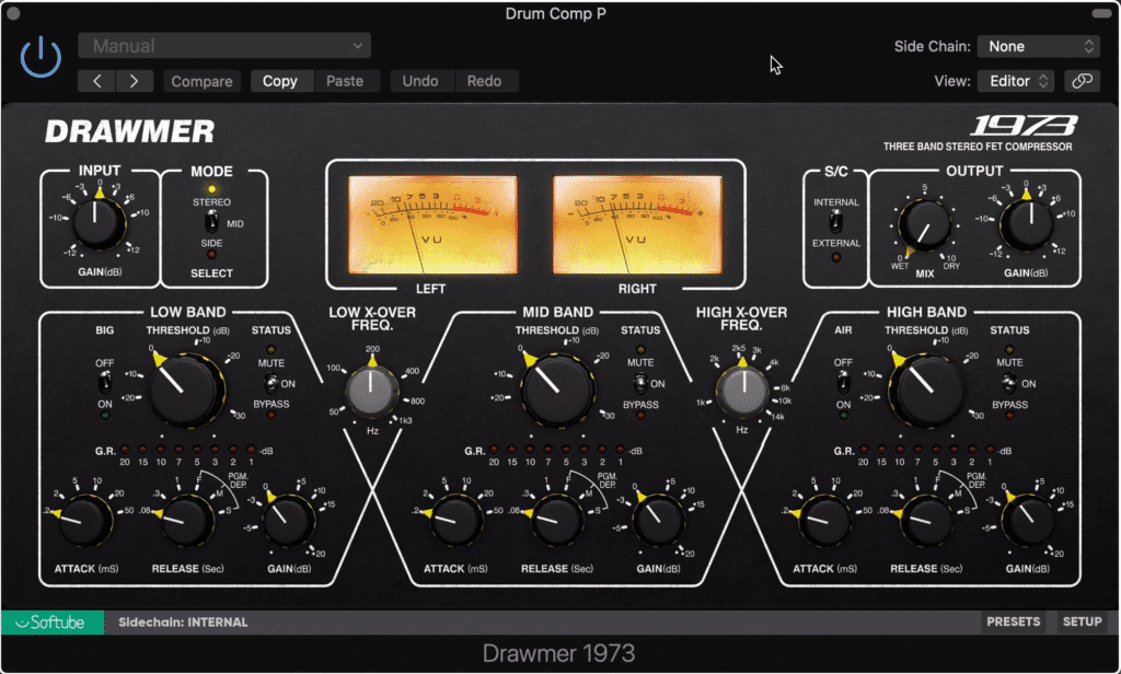 Parallel compression can be used in tandem with bus compression to improve the sound of drums.