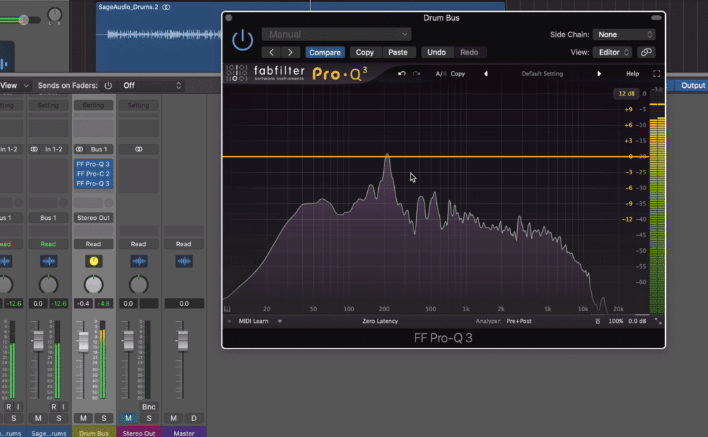 Notice the equalizers inserted before and after the bus compressor.