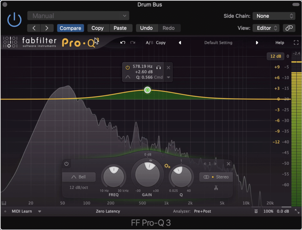 On the emphasis EQ, boost frequencies you'd like the compressor to compress more.