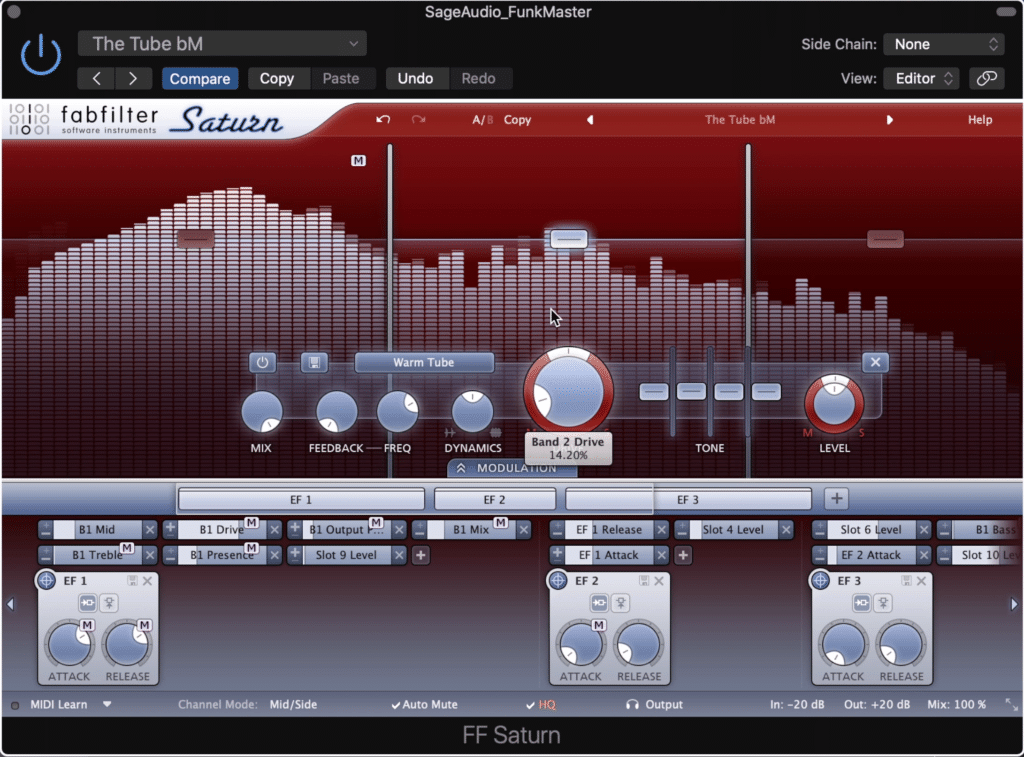 The FabFilter Saturn is capable of creating complex harmonic generation.