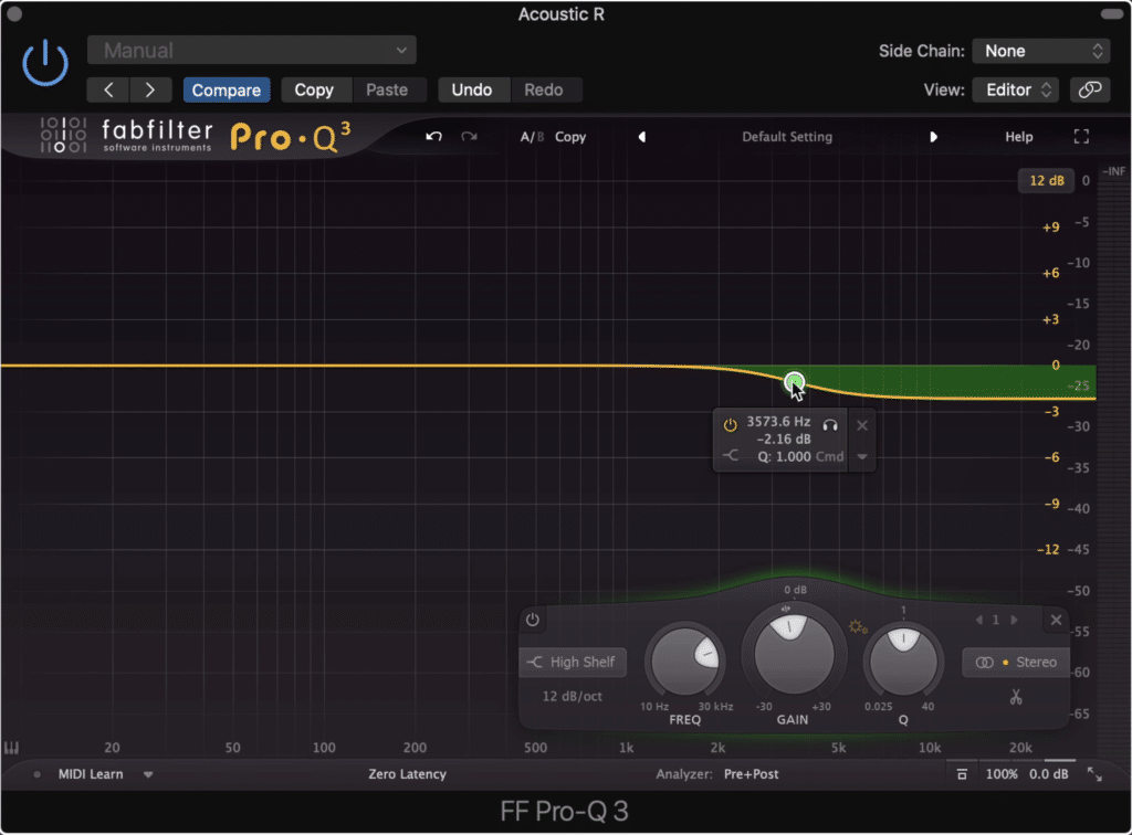 Spectral panning is created by attenuating the high range frequencies.