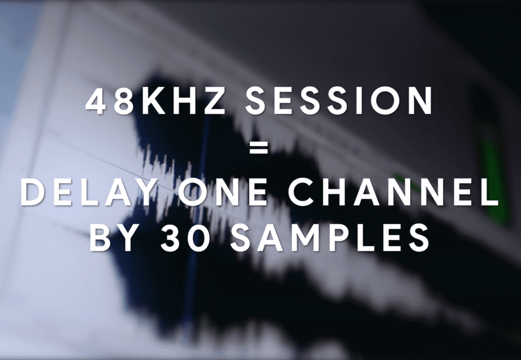 To emulate the delay between your ears, use 30 samples of delay.