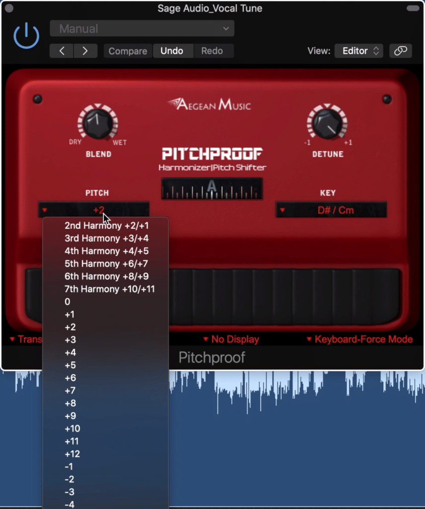 Use the pitch tab to alter the generated harmony
