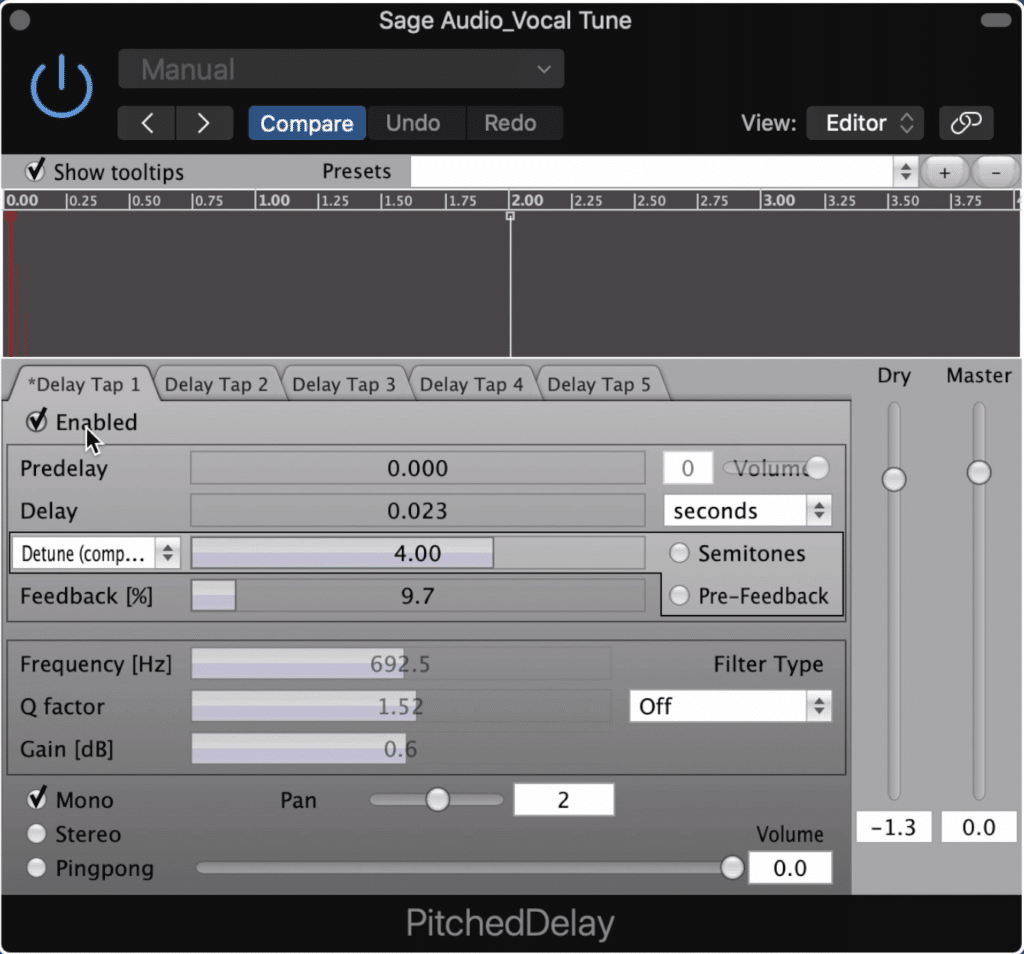 The Pitched Delay allows you to create multiple delay taps and detune them