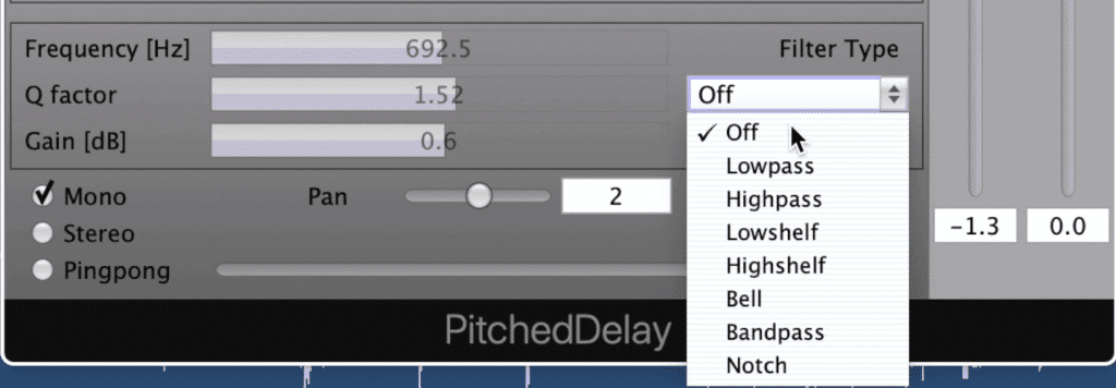 7 filters can be selected, with one on each delay tap.