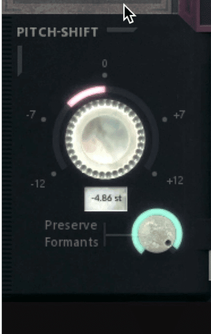 The tuning section also includes a Preserve Formants function