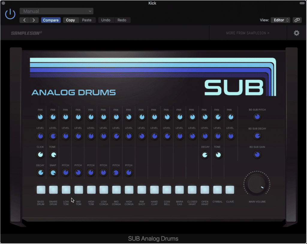 The Sub Analog Drums offers 16 channels that can be customized