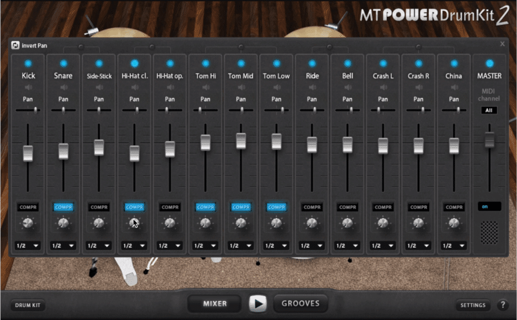 In the mixer, you can affect the level, pan, and compression amount of 16 tracks.