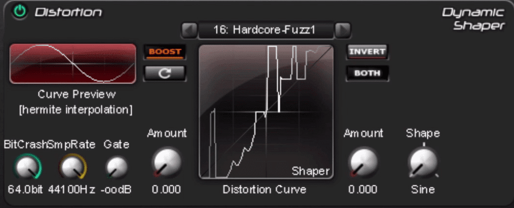 In the distortion section, bit and sample rate distortion can be introduced - as can compression and expansion.