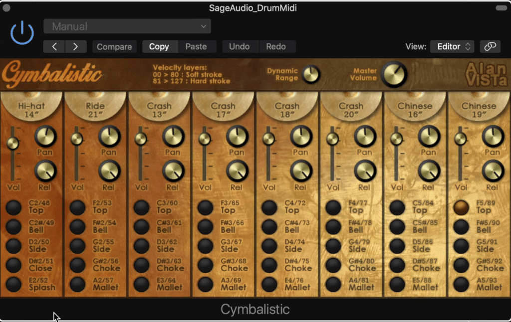 Cymbalistic includes 40 samples in total.