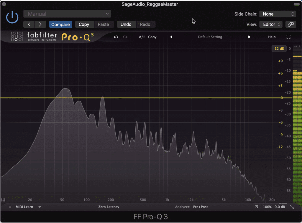 Subtractive equalization is the first step in mastering Reggae Music