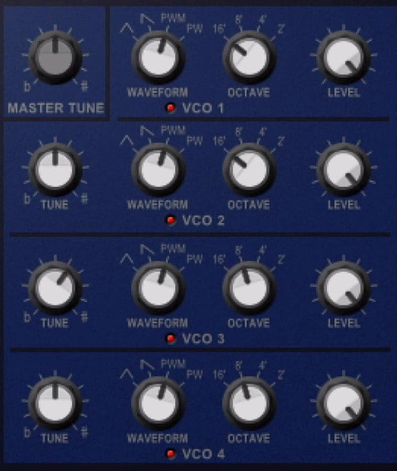 In the VCO section you can alter the oscillation