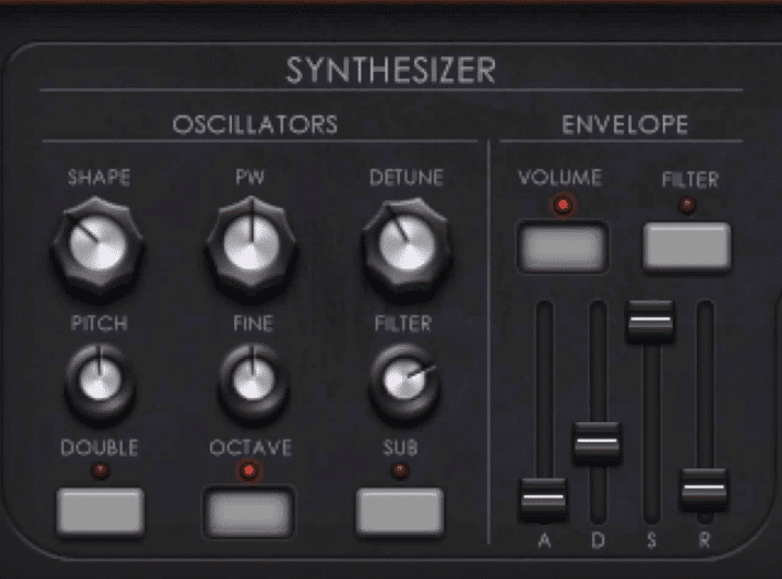In the Synthesizer section you can affect you oscillators and ADSR.