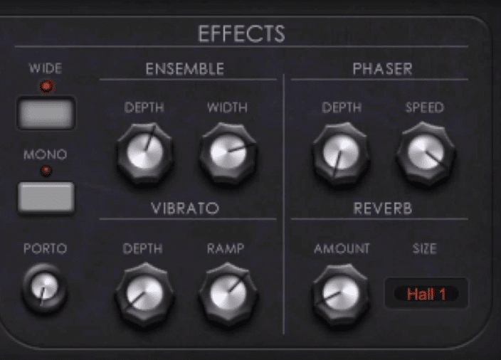 The Effects section includes ensemble, phaser, vibrato, and reverb, as well as portamento.