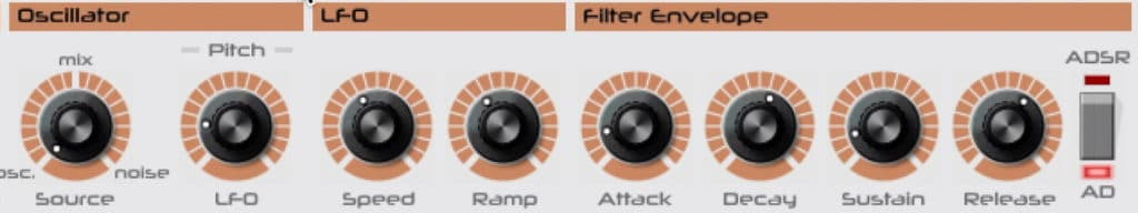 In this section, the LFO's timbre and frequency is altered.