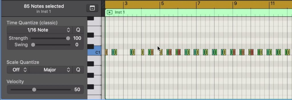 This midi data can be quantized and affected in other common ways.