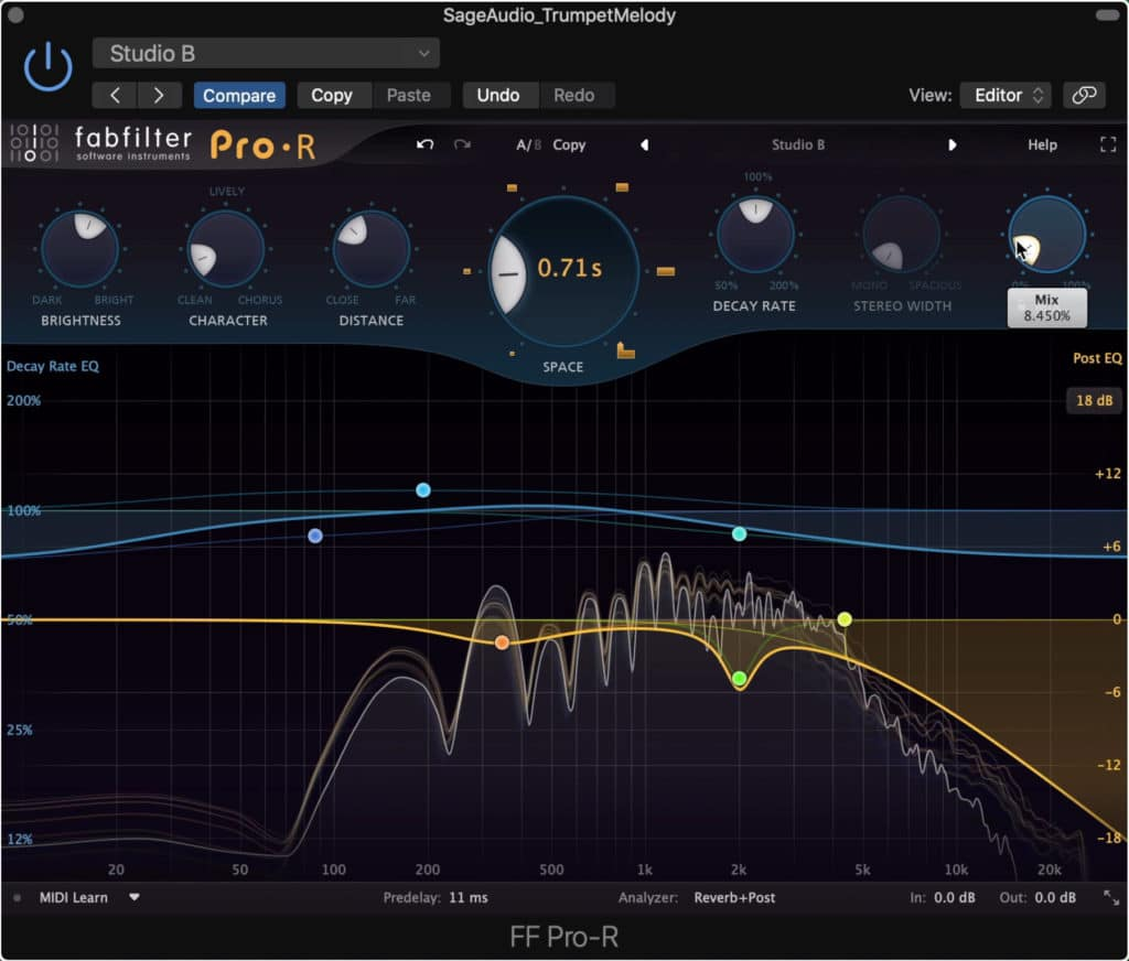 Use a very short reverb to emulate the sound fo the studio in which the signal was recorded.