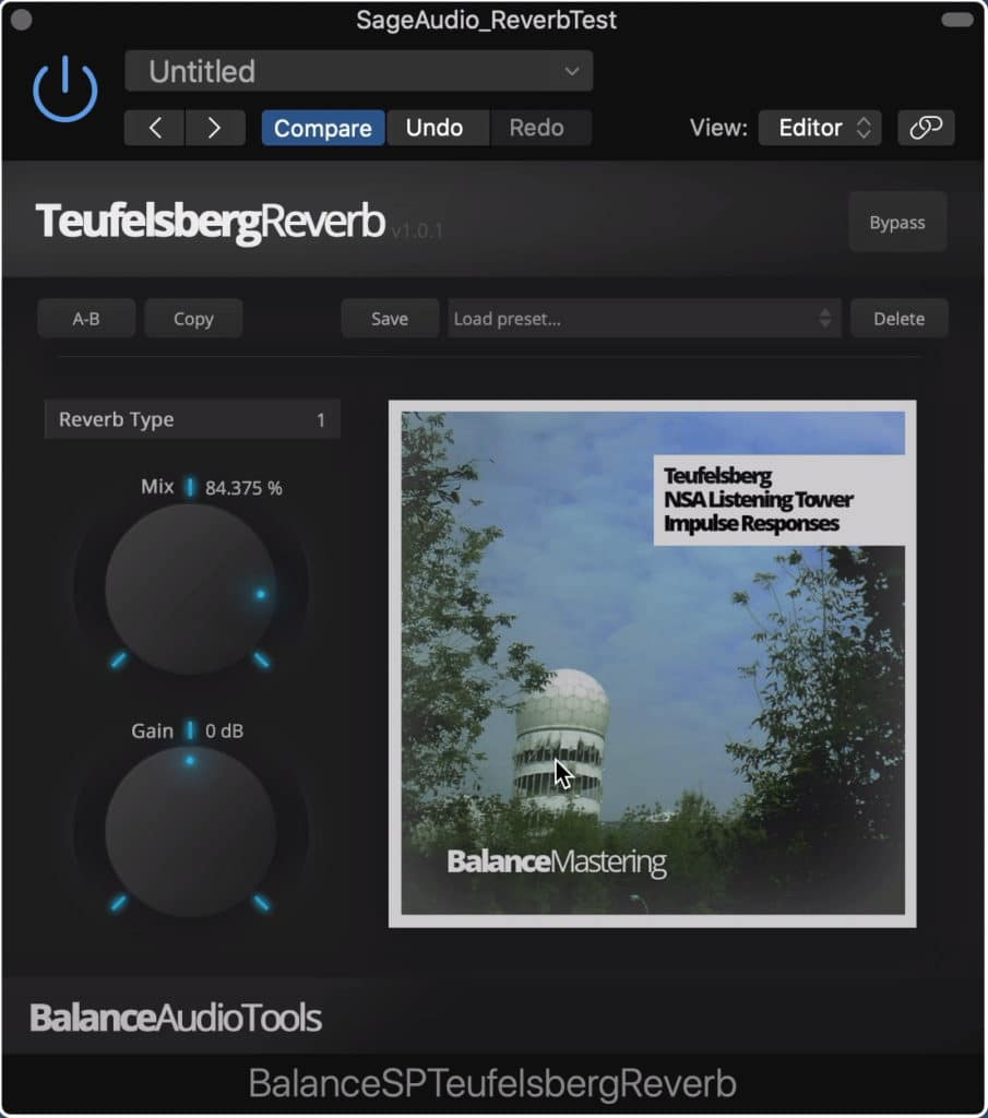 This plugin uses impulse responses from the Teufelsberg tower.