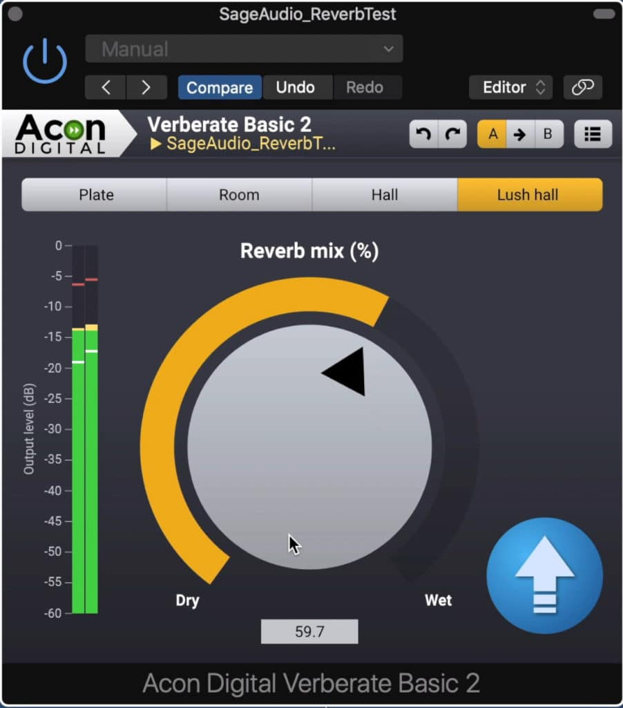 This simple plugin offers 4 different reverb types, and a mix rotary.