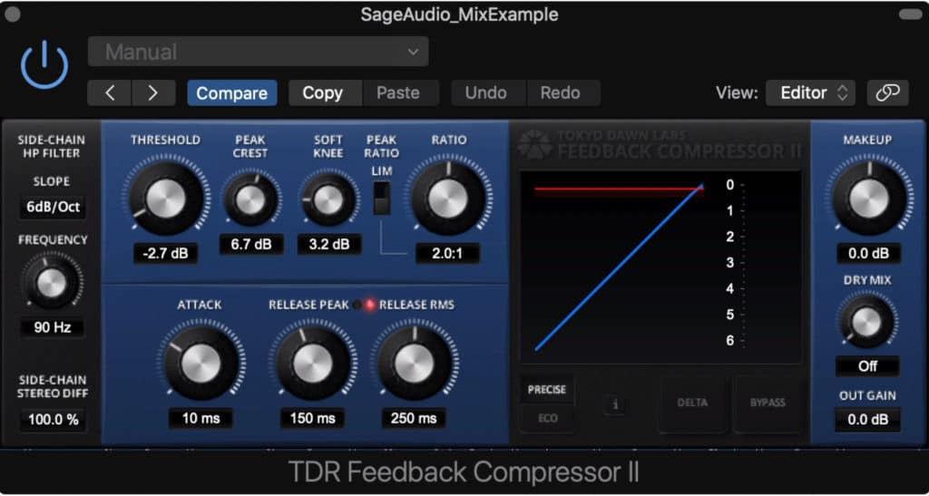 This is a feedback compressor, meaning the output is used to drive the compression.
