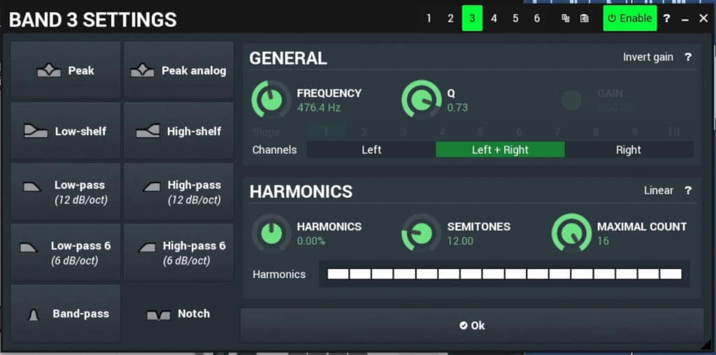 These are the settings you can choose for each band.