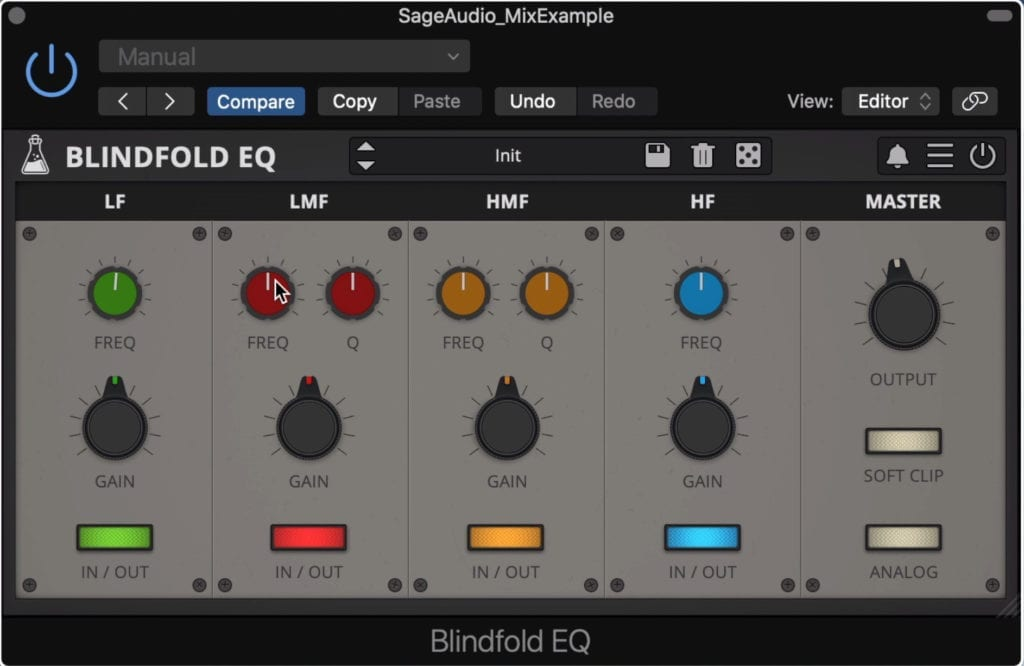 The Blindfold EQ offers 4 bands in total.