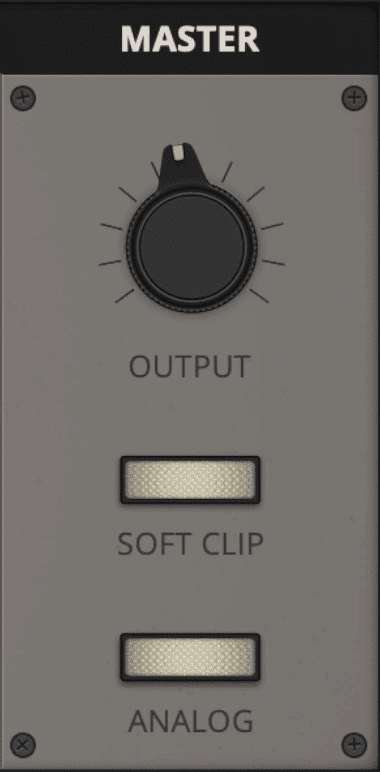 In the output section, you can engage both a soft clipping limiter and analog emulation.