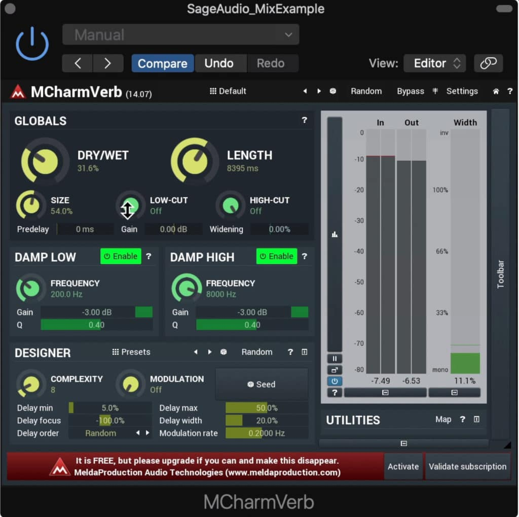 MCharmVerb is an incredibly comprehensive and well designed reverb plugin.
