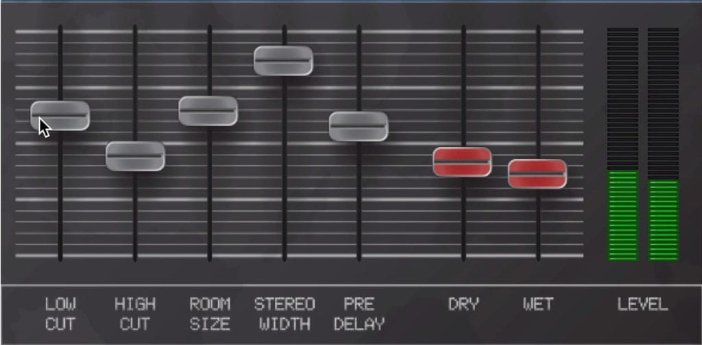 The 7 sliders control you various reverb parameters.