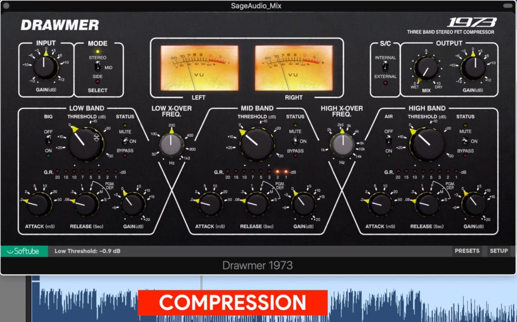 Compression is used to control dynamics and peaks.