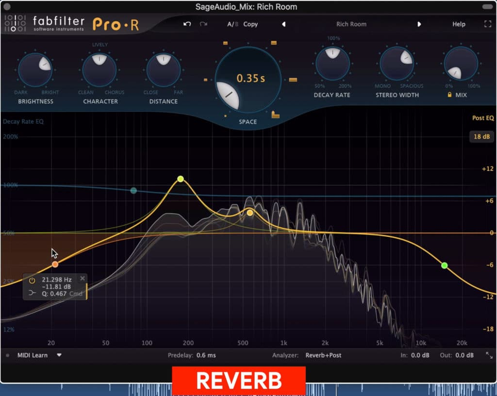 Reverb is rarely used during mastering.