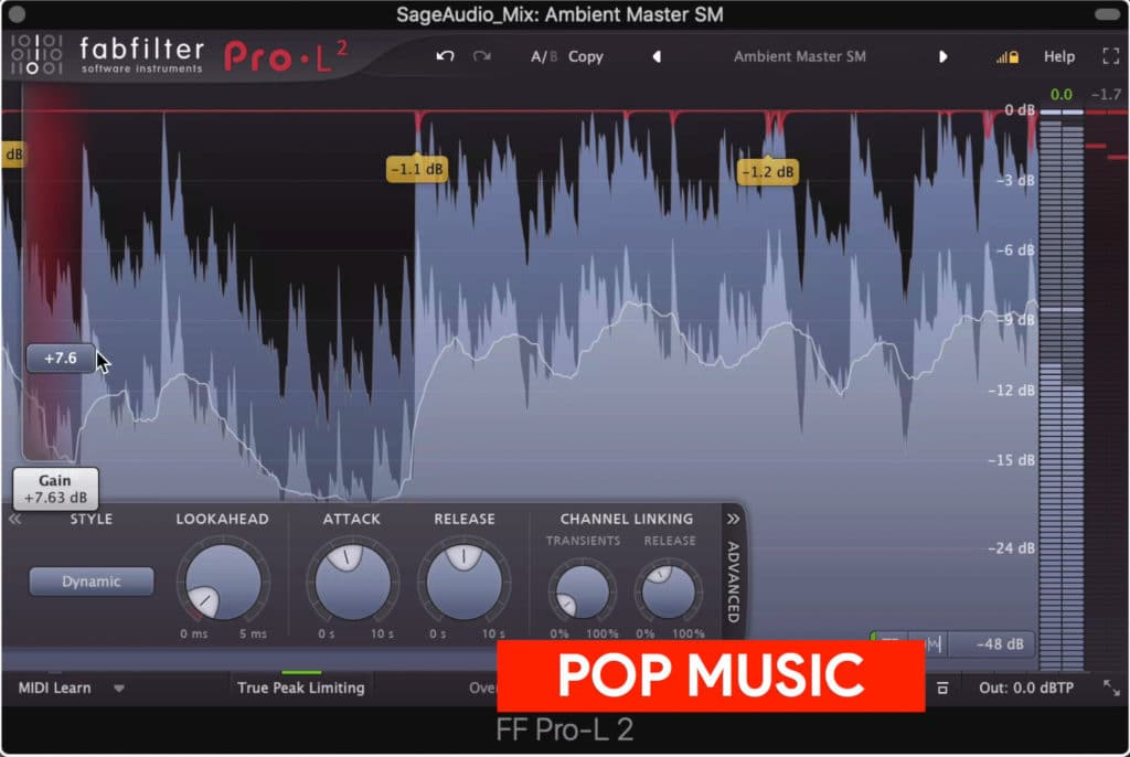 Pop music is mastered moderately loud to loud.