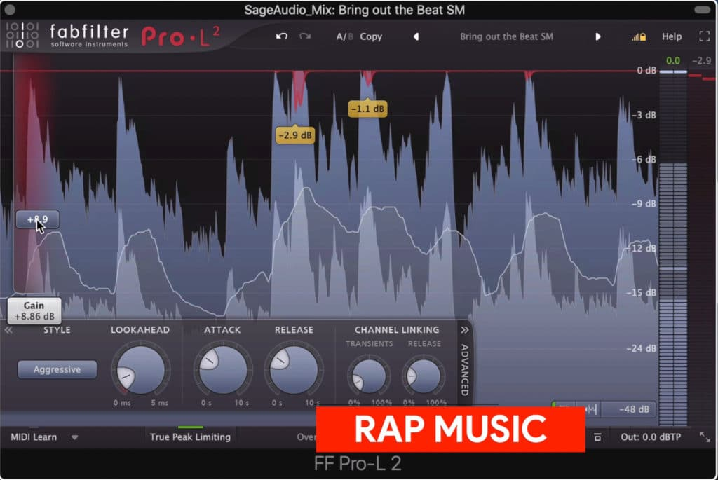 Rap music is made moderately loud to loud.