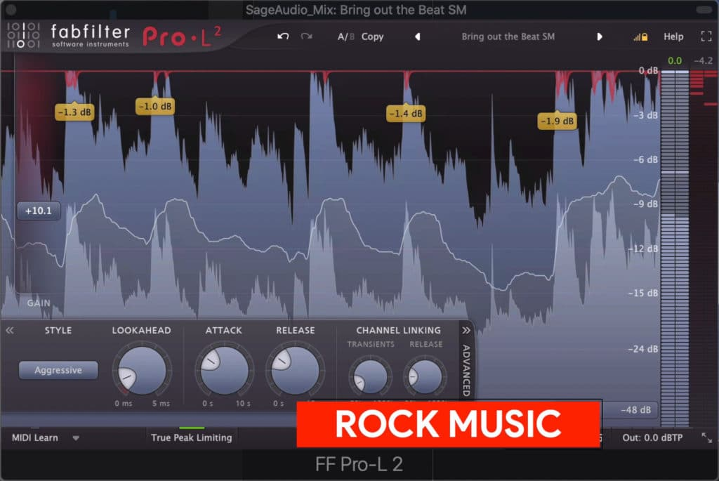 Rock music is mastered moderately quiet to loud, depending on the sub-genre.