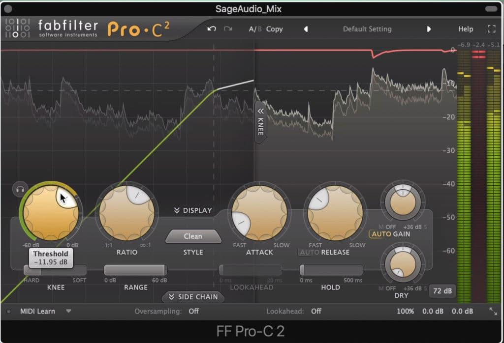 Compression should be minimized to avoid transient reduction.