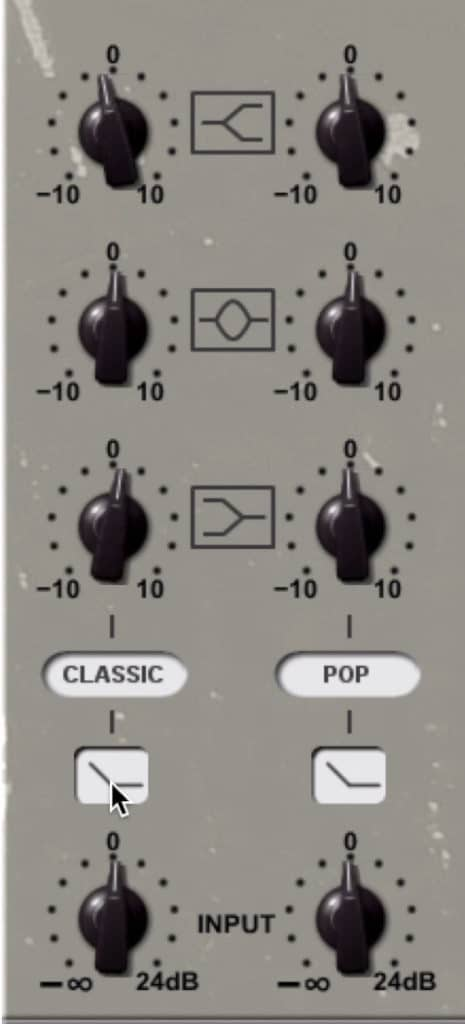 The EQ section gives you control over 3 bands.
